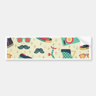 shabby chic vintage multi color & pattern hipster car bumper sticker