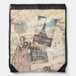 Shabby chic vintage Paris homeware accessory LeahG Drawstring Bag