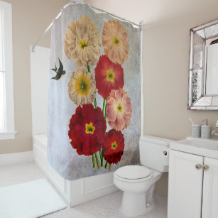 Shabby Chic Vintage Pink Red White Flowers On Blue Shower Curtain