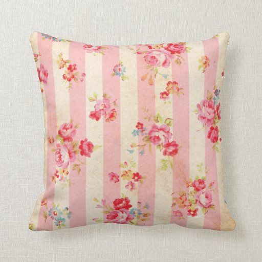 Shabby Chic Pink Decorative Pillows : Shabby Chic Vintage Pink Stripes and Roses Throw Pillow Zazzle
