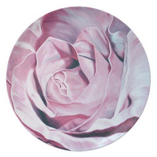 Shabby chic vintage romantic elegant pink roses plate