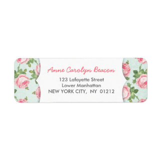 Shabby & Chic Vintage Rose Floral Girly Label