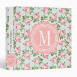 Shabby & Chic Vintage Rose Floral Personalized 3 Ring Binder