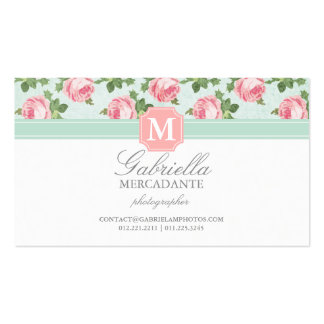 Shabby & Chic Vintage Rose Floral Personalized Business Card