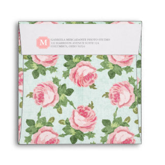 Shabby & Chic Vintage Rose Floral Personalized Envelope