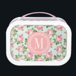 """Shabby &amp; Chic Vintage Rose Floral Personalized Lunch Box<br><div class=""""desc"""">Whimsical vintage floral pattern with a retro effect for a shabby and chic look. Illustrated with pink roses and bright green leaves on a delicate light blue background. Personalize it with your name initials to create a sophisticated unique monogram! Ideal for any ages! As baby shower gifts to baby girl,...</div>"""
