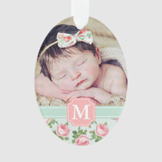 Shabby & Chic Vintage Rose Floral Personalized Ornament