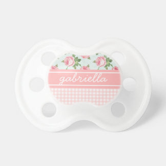 Shabby & Chic Vintage Rose Floral Personalized Baby Pacifiers