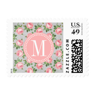 Shabby & Chic Vintage Rose Floral Personalized Postage Stamps