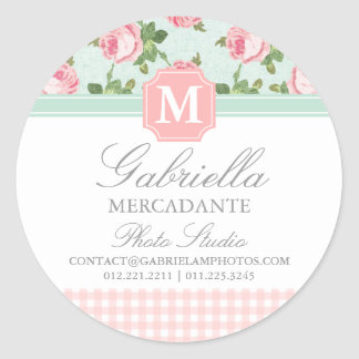 Shabby & Chic Vintage Rose Floral Personalized Round Stickers