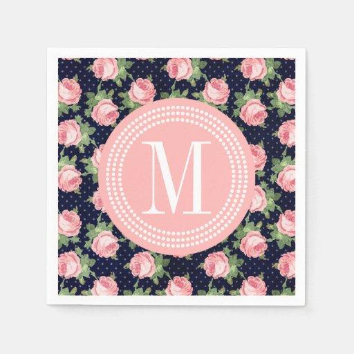 Monogram Paper Napkins Uk: Shabby & Chic Vintage Roses Floral Personalized Paper