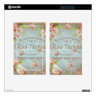 Shabby chic vintage roses rose blue typo french decal for kindle fire