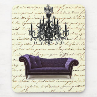 Shabby Chic Vintage Sofa Chandelier Save The Date Mouse Pad