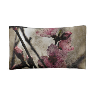 Shabby Chic Vintage Style peach Blossoms Makeup Bag