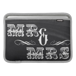 shabby chic vintage typography mr and mrs MacBook air sleeves