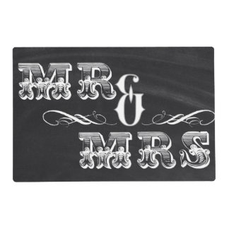 shabby chic vintage typography mr and mrs placemat