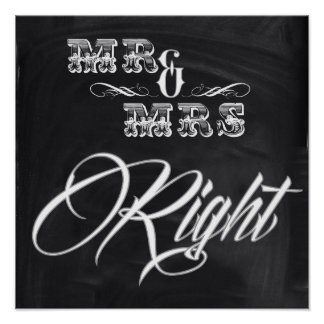 shabby chic vintage typography mr and mrs poster