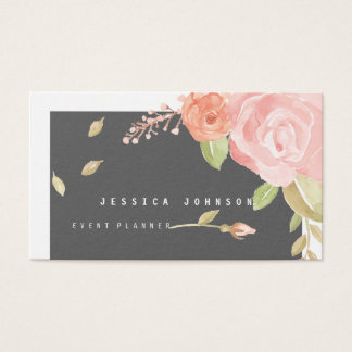 Shabby Chic Watercolor Blush Pink & Peach Floral Business Card