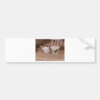 Shabby Chic Watering Can and Pail Photograph Car Bumper Sticker