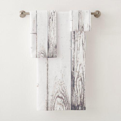Shabby Chic White Wood Rustic Farmhouse Barn Bath Towel Set