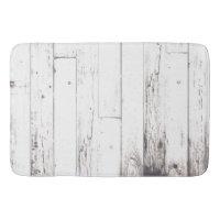 Shabby Chic White Wood Rustic Farmhouse Barn Bathroom Mat