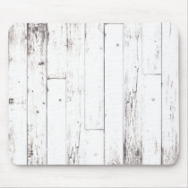 Shabby Chic White Wood Rustic Farmhouse Barn Mouse Pad