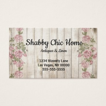 Professional Business Shabby Chic Wood and Rose Business Card