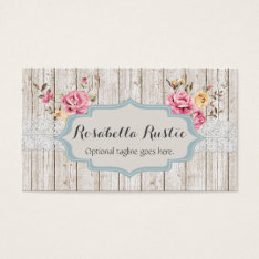 Shabby Chic Wood & Lace - Rosabella Rustic Business Card at Zazzle