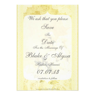 Shabby Chic Yellow Peony Flowers Save The Date Personalized Invites
