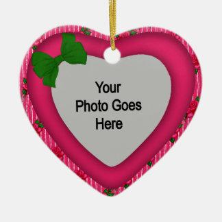 Shabby Christmas Heart Ornament - Photo Frame