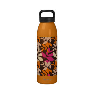 shabby colorful leaves pattern water bottle