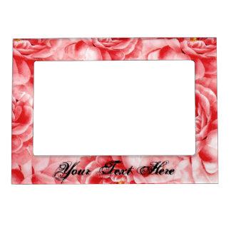 Shabby Cottage Pink Roses Shower Gift AddYourText Photo Frame Magnets