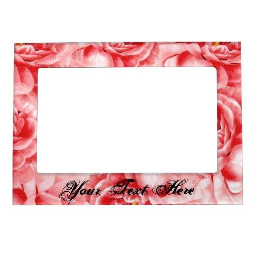 Shabby Cottage Pink Roses Shower Gift AddYourText Magnetic Frame