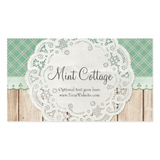 Shabby Country Chic Doily on Wood - Mint Cottage Business Card
