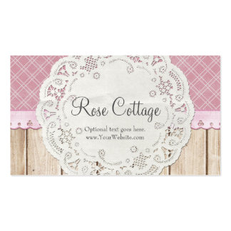 Shabby Country Chic Doily on Wood - Rose Cottage Business Card