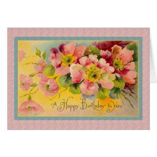 Shabby Dog Rose Happy Birthday Chic Floral Card