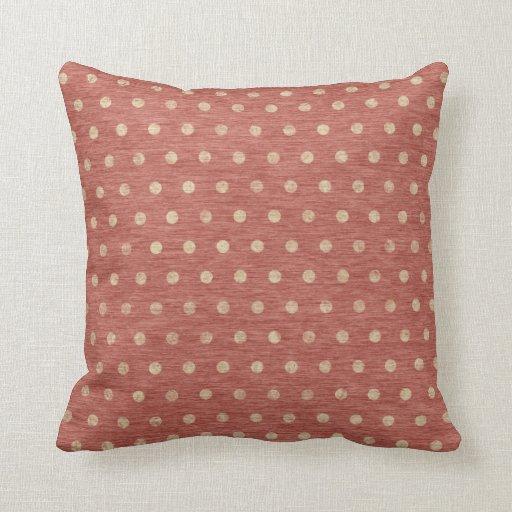 Shabby Dots Throw Pillow - rust & cream Zazzle
