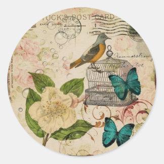 shabby elegance botanical bird french provincial classic round sticker