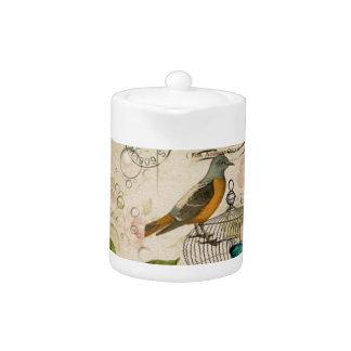 shabby elegance floral bird french botanical teapot
