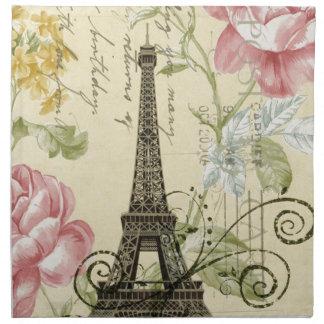 shabby elegance yellow pink floral eiffel tower cloth napkin