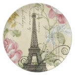 shabby elegance yellow pink floral eiffel tower dinner plate