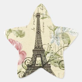 shabby elegance yellow pink floral eiffel tower star sticker