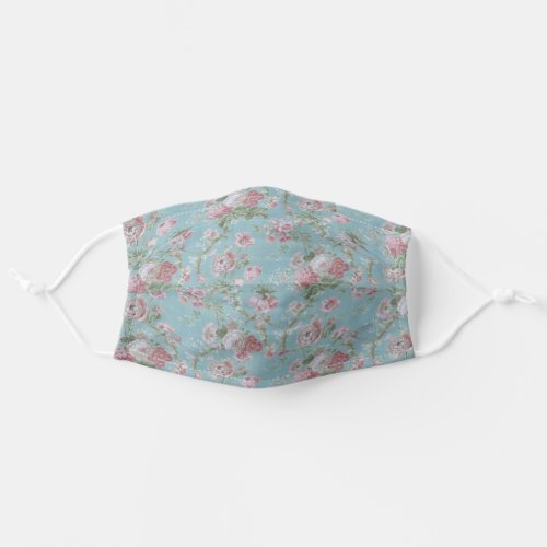 Shabby Elegant Pink and White Floral on Blue Cloth Face Mask