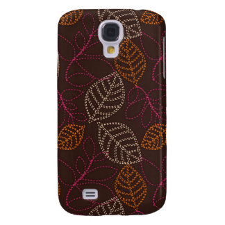 shabby etched leaves on dark brown galaxy s4 case
