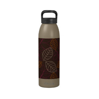 shabby etched leaves on dark brown drinking bottles