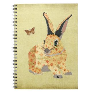 Shabby Floral Bunny  Notebook