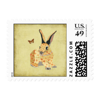 Shabby Floral Bunny Stamp