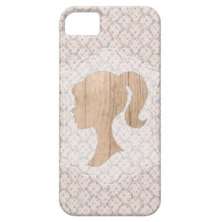 Shabby Floral Glitter Design with Wood Silhouette iPhone 5 Covers