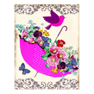 Shabby Floral Umbrella Postcard