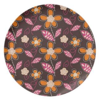 shabby flower doodles pattern melamine plate